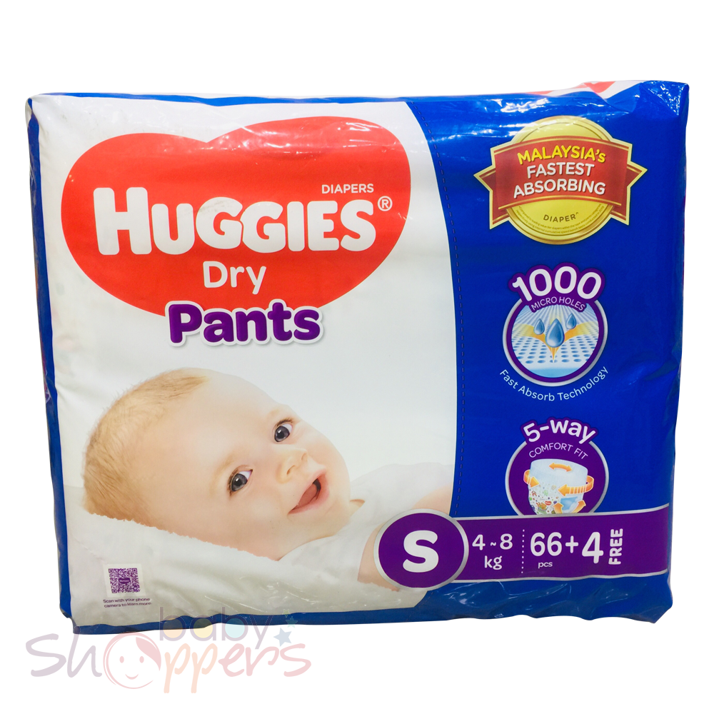 Huggies Dry Pants Small 66+4 Pcs (4-8Kg)