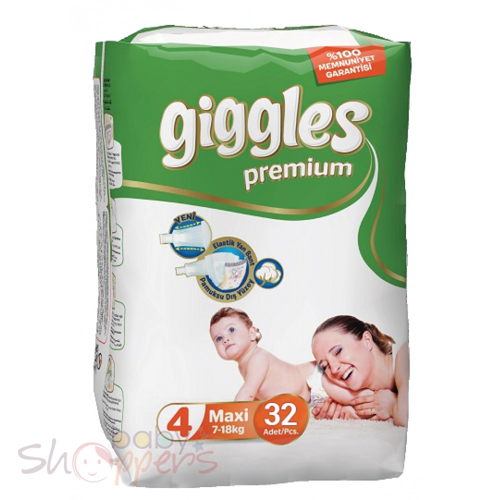 Premium Giggles Twin (7-18 Kg) Maxi Baby Diapers 32 Pcs