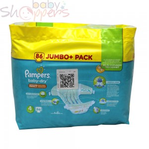 Pampers Baby-Dry Size-4 (Jumbo Pack 86 Nappies) Weight:8-16kg