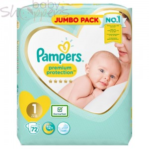Pampers Premium Protection Size-1 (72 Nappies) Weight:2-5kg
