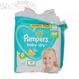 Pampers Baby-Dry Size-8 (52 Nappies) Weight:17+kg