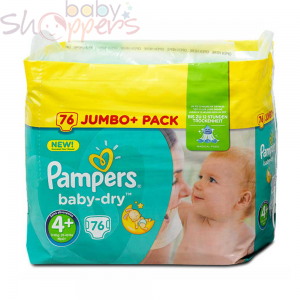 Pampers Baby-Dry Size-4+ (76 Nappies) Weight:10-15kg