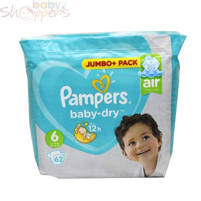 Pampers Baby-Dry Size-6 (Jumbo Pack 62 Nappies) Weight:13-18kg