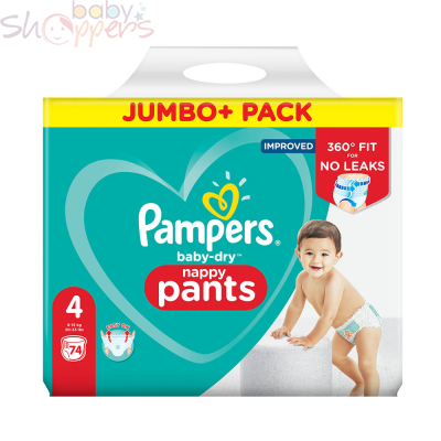 Pampers Baby-Dry Pants Size-4 (74 Nappies) Weight: 9-15kg